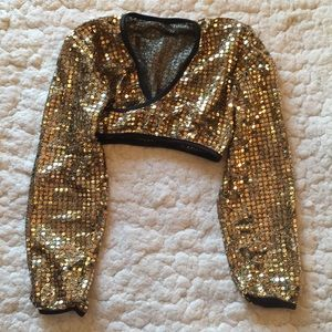 Other - Gold glitter dance cover up crop top costume